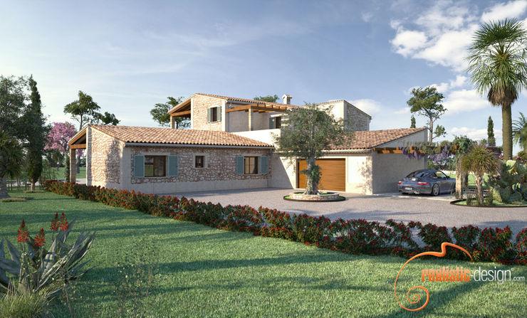 Perspectiva 3D de la fachada lateral de la vivienda Realistic-design Casas de estilo rústico