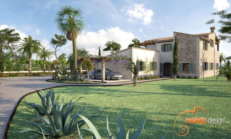 Perspectiva 3D de la fachada y entrada de la vivienda Realistic-design Casas de estilo rústico
