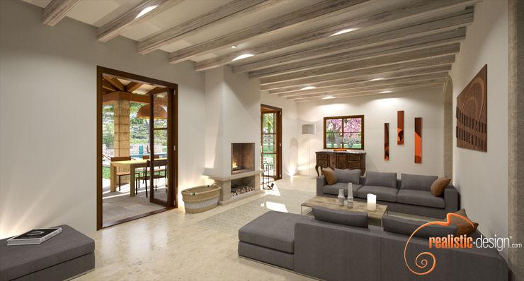 Perspectiva 3D del salón estilo rústico Realistic-design Salones rústicos de estilo rústico