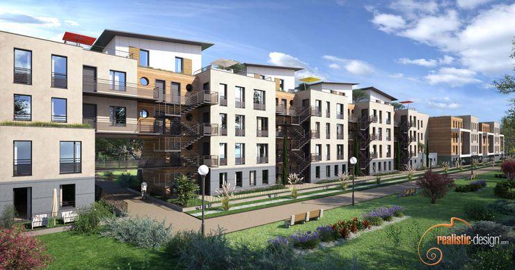 Perspectiva 3D de un edificio de viviendas para arquitectos Realistic-design Casas multifamiliares