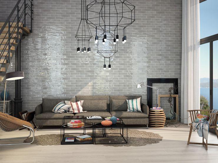 Wandfliesen im Retor-Look in deinem Wohnzimmer Fliesen Sale Industriale Wohnzimmer Fliesen