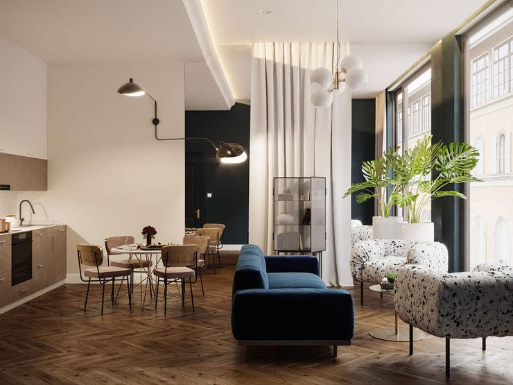 Appartamento di 65 mq per una coppia italiana, Londra, GB Archventil - Architecture and Design Studio Soggiorno moderno