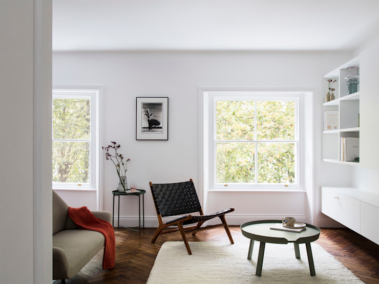 Living room Brosh Architects Modern Living Room Wood White