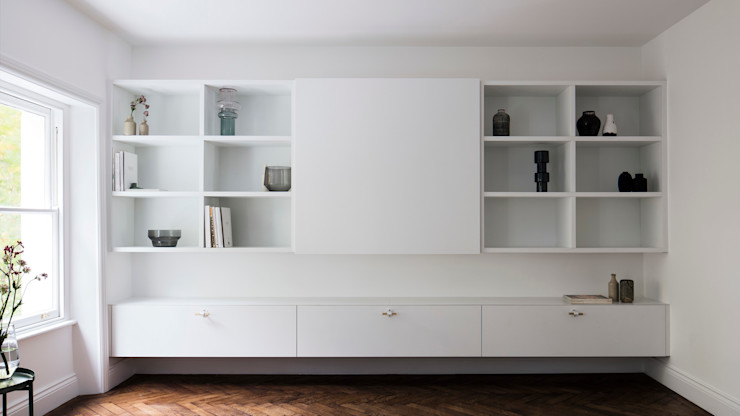 Living room - Media unit (lights off) Brosh Architects Modern Living Room Wood White