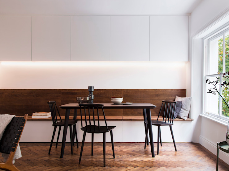 Dining room (lights on) Brosh Architects Modern Dining Room Wood White