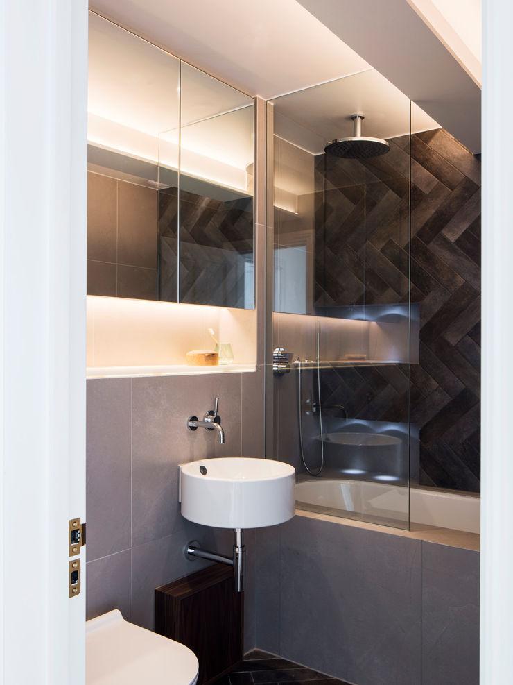 Master bathroom Brosh Architects Modern Bathroom Tiles Grey