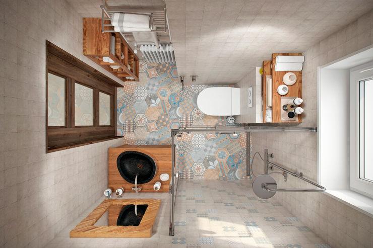 Квартира 79 кв.м. в стиле эклектика ЖК Пресненский вал Студия архитектуры и дизайна Дарьи Ельниковой Ванная комната в эклектичном стиле