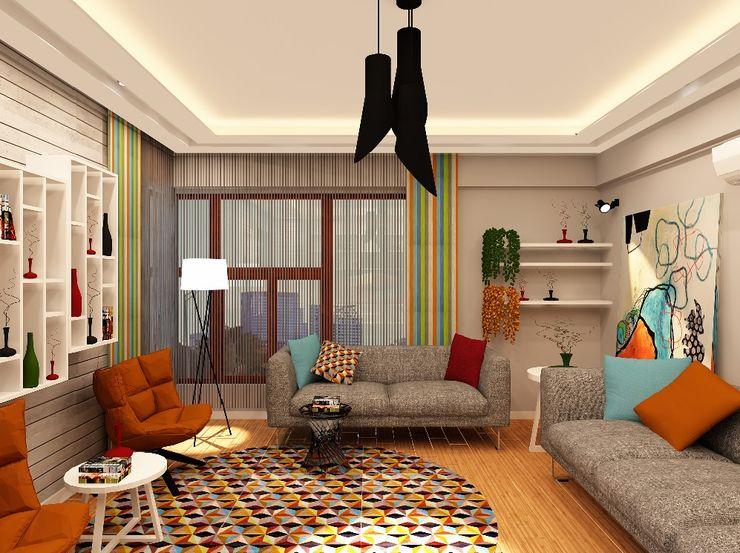 Mozeta Mimarlık Modern living room Concrete Orange