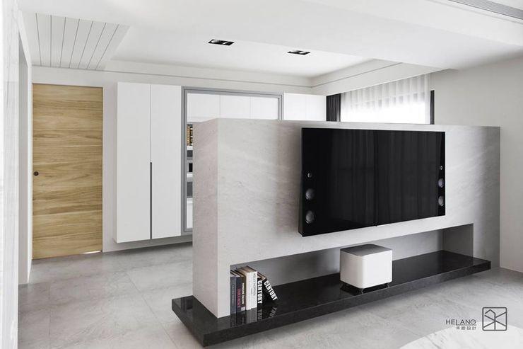電視牆 禾廊室內設計 Modern Living Room Marble White