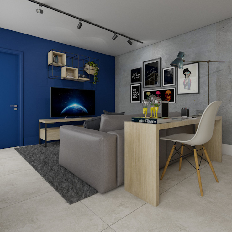 Sala integrada StudioCS Arquitetura Salas de estar modernas Concreto Azul