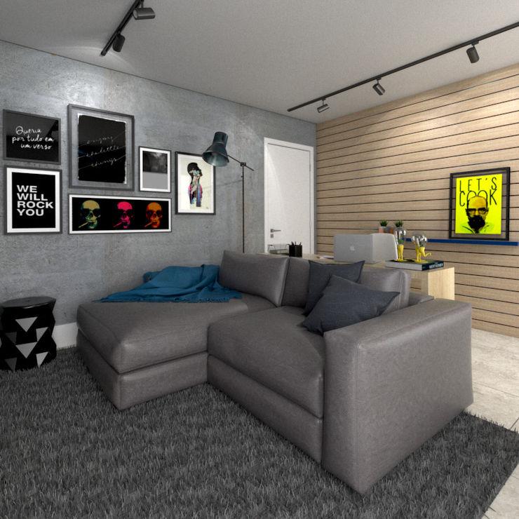 Sala integrada StudioCS Arquitetura Salas de estar modernas Madeira Efeito de madeira