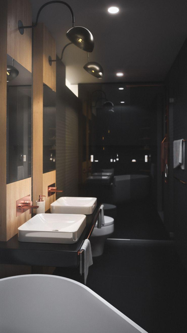 BAÑO CASA VEGA Adrede Arquitectura Baños de estilo moderno Negro
