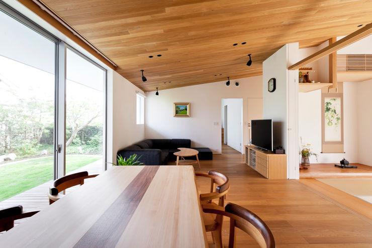 有限会社角倉剛建築設計事務所 Modern dining room Wood Wood effect
