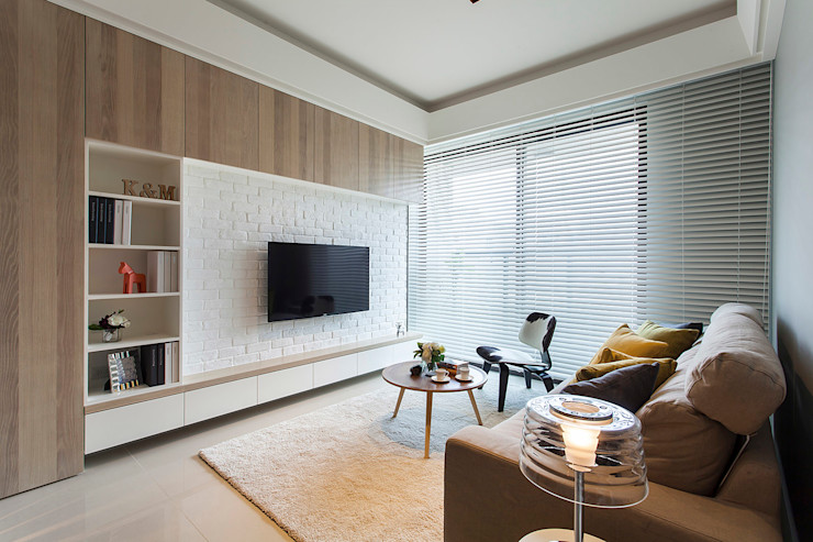 沐澄設計 Ruang Keluarga Gaya Skandinavia Batu Tulis White