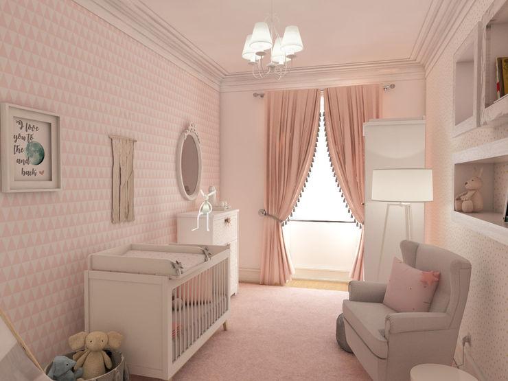 Simulação tridimensional - projecto quarto de bebé The Spacealist - Arquitectura e Interiores Berçários