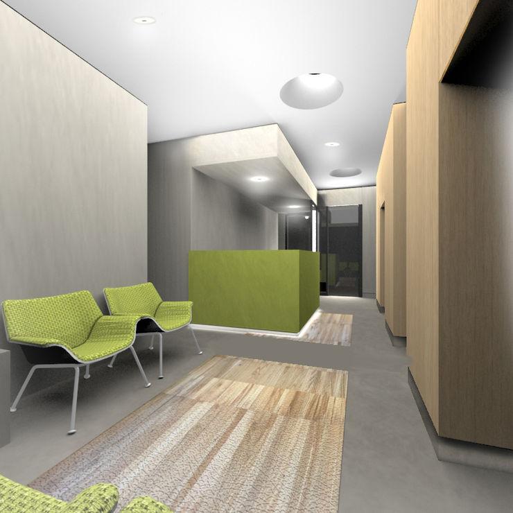 Render della sala d'attesa, visuale verso l'ingresso VITAE Studio Architettura Ingresso, Corridoio & Scale in stile scandinavo