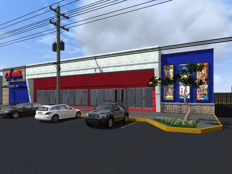 Propuesta 2 Fachada HC Arquitecto Centros comerciales de estilo moderno