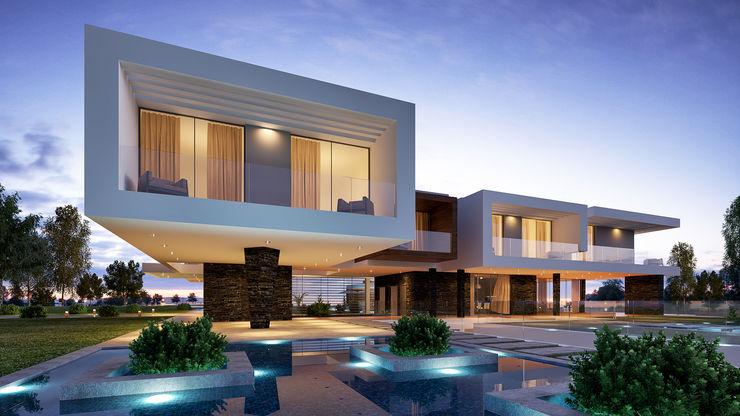 CASA MS1 - Moradia no Belas Clube de Campo - Projeto de Arquitetura - exterior lago Traçado Regulador. Lda Moradias Pedra Branco