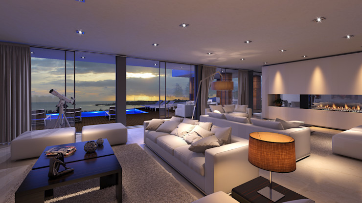 JA1 HOUSE Traçado Regulador. Lda Modern living room Stone White