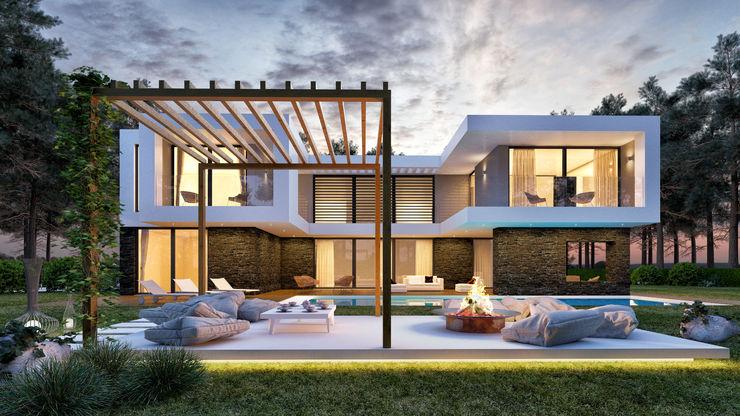 CASA PF1 - Moradia na Herdade da Aroeira - Projeto de Arquitetura - exterior piscina Traçado Regulador. Lda Moradias Pedra Branco