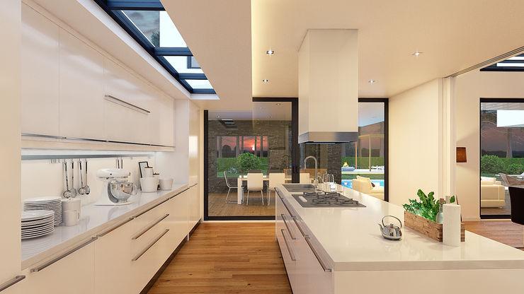 CASA PF1 - Moradia na Herdade da Aroeira - Projeto de Arquitetura - cozinha Traçado Regulador. Lda Cozinhas modernas Madeira Branco