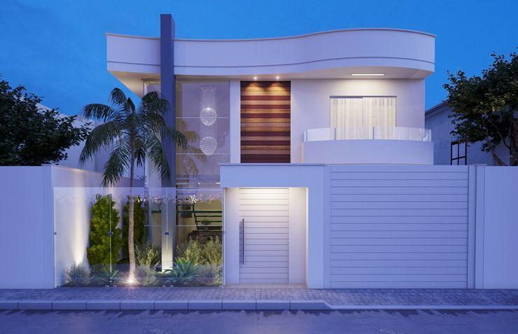 Fachada Camila Pimenta   Arquitetura + Interiores Casas familiares Branco