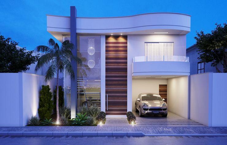 Fachada Camila Pimenta | Arquitetura + Interiores Casas minimalistas Branco