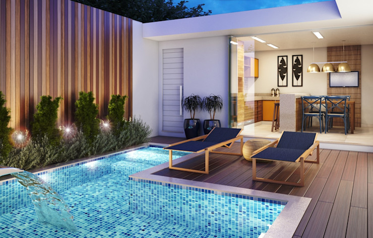 Área externa Camila Pimenta   Arquitetura + Interiores Piscina Branco