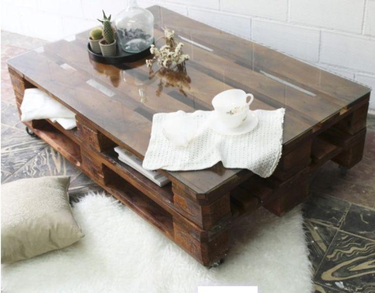 Pequeños Proyectos Salones rústicos de estilo rústico Madera Acabado en madera