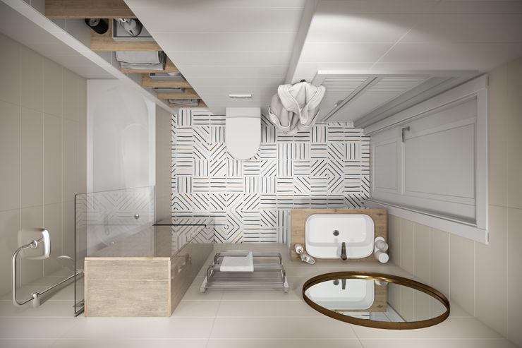 Квартира 45 кв.м. в скандинавском стиле в ЖК Рассказово. Студия архитектуры и дизайна Дарьи Ельниковой Ванная комната в скандинавском стиле