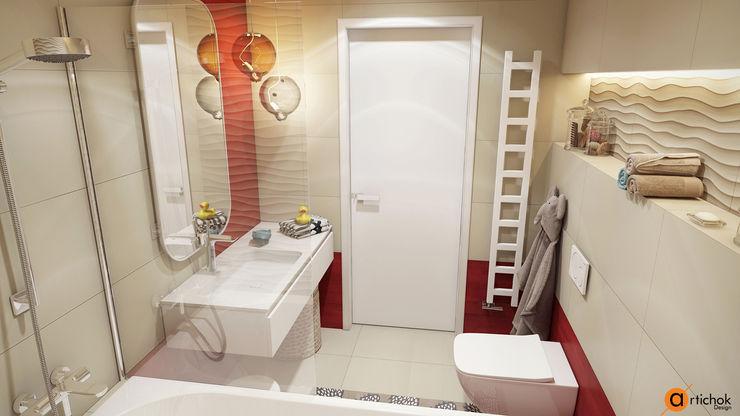 Санузел для детей в красном и бежевом цвете Artichok Design Ванная комната в стиле минимализм Бежевый