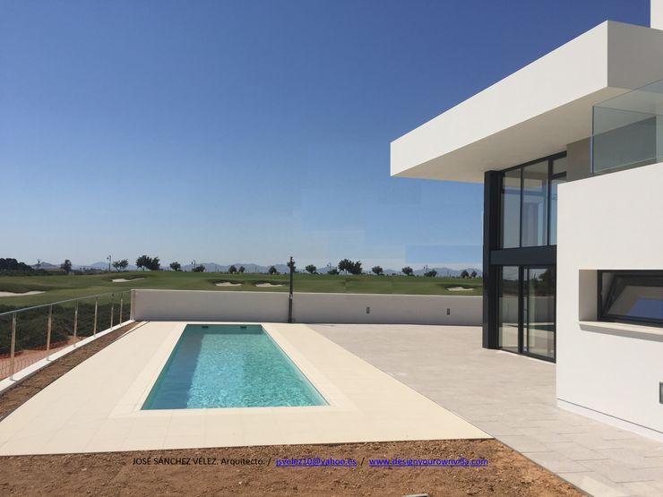 Vivienda moderna u su linealidad infinita DYOV STUDIO Arquitectura, Concepto Passivhaus Mediterraneo 653 77 38 06 Villas Arenisca Blanco