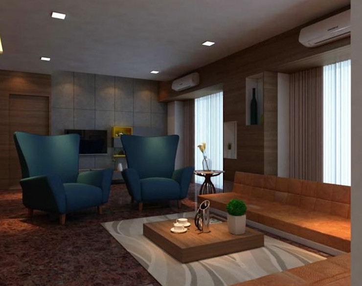 homify Modern living room Plywood Grey