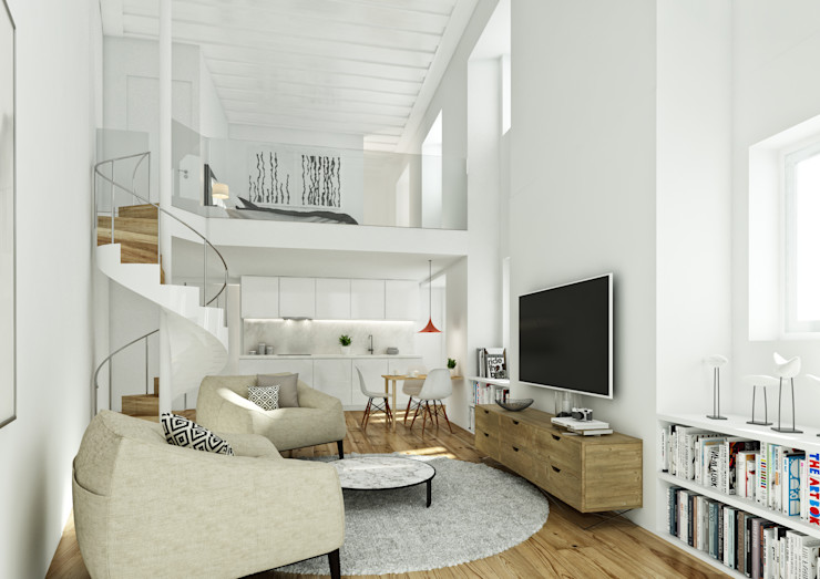 São Vicente 44 - Stone Capital Onstudio Lda Salas de estar modernas