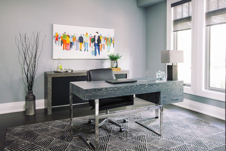 Modern Home Office Frahm Interiors Modern Study Room and Home Office Grey