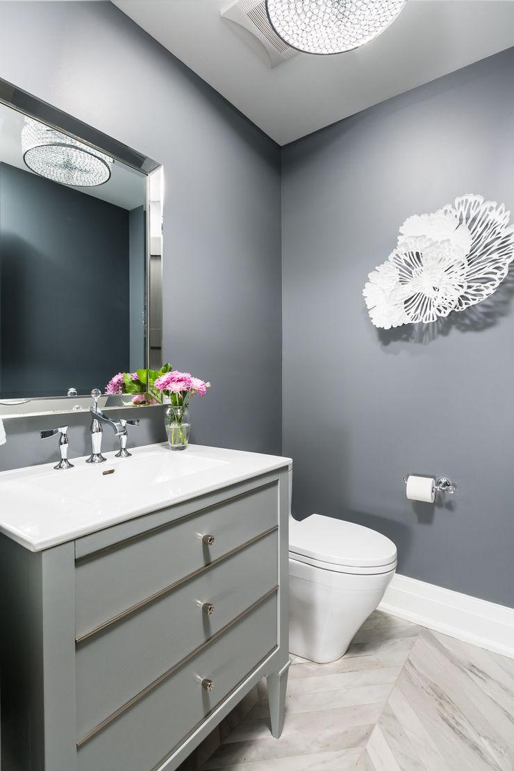 Powder Room Frahm Interiors Modern Bathroom Grey