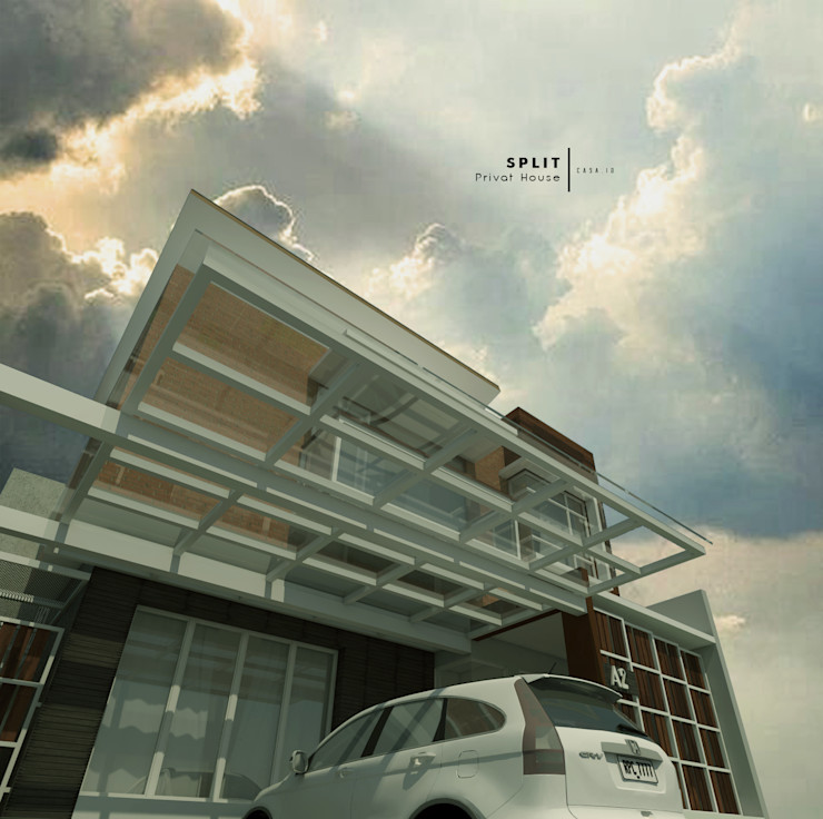 Carport Dengan Atap Kaca CASA.ID ARCHITECTS Rumah tinggal