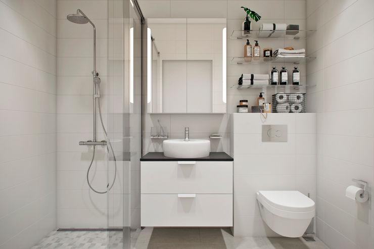 Квартира 42 кв.м. в современном стиле в ЖК Водный. Студия архитектуры и дизайна Дарьи Ельниковой Ванная комната в стиле минимализм