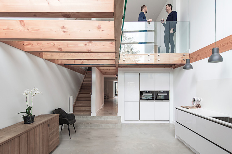 Bloot Architecture Modern kitchen Concrete Wood effect