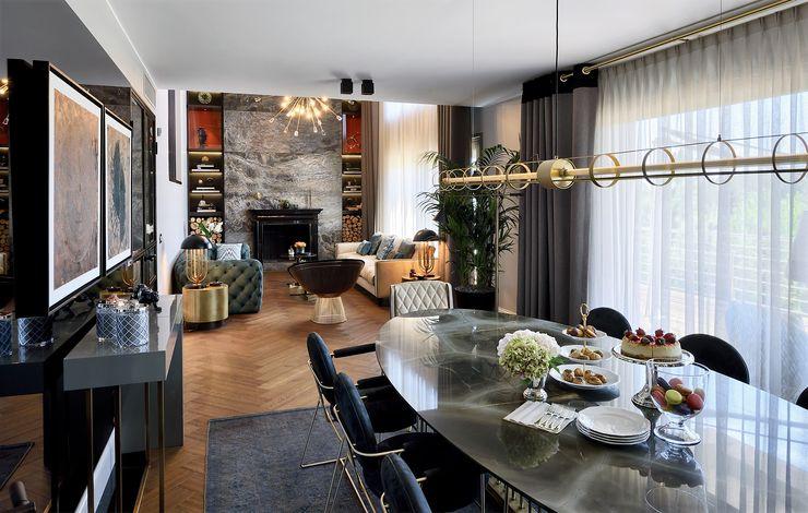 ABA HOUSE Esra Kazmirci Mimarlik Modern dining room Marble Grey