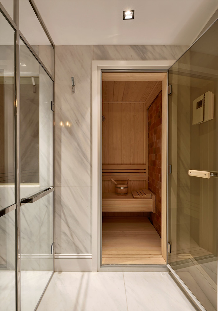 ABA HOUSE Esra Kazmirci Mimarlik Modern bathroom Marble White