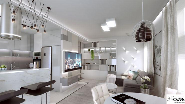 modern apartament in grey AFormA Architektura wnętrz Anna Fodemska Modern living room Grey