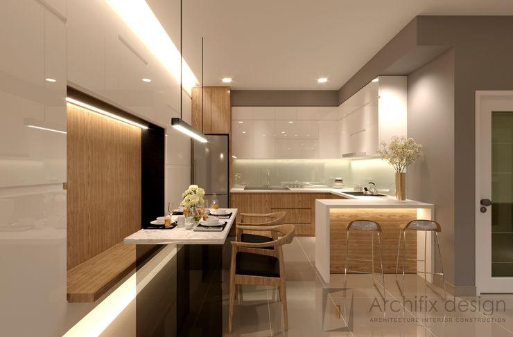 Công Ty TNHH Archifix Design モダンデザインの ダイニング
