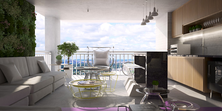 Living integrado com varanda gourmet Semíramis Alice Arquitetura & Design Salas de estar modernas