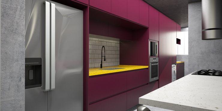 Cozinha integrada com living Semíramis Alice Arquitetura & Design Cozinhas modernas