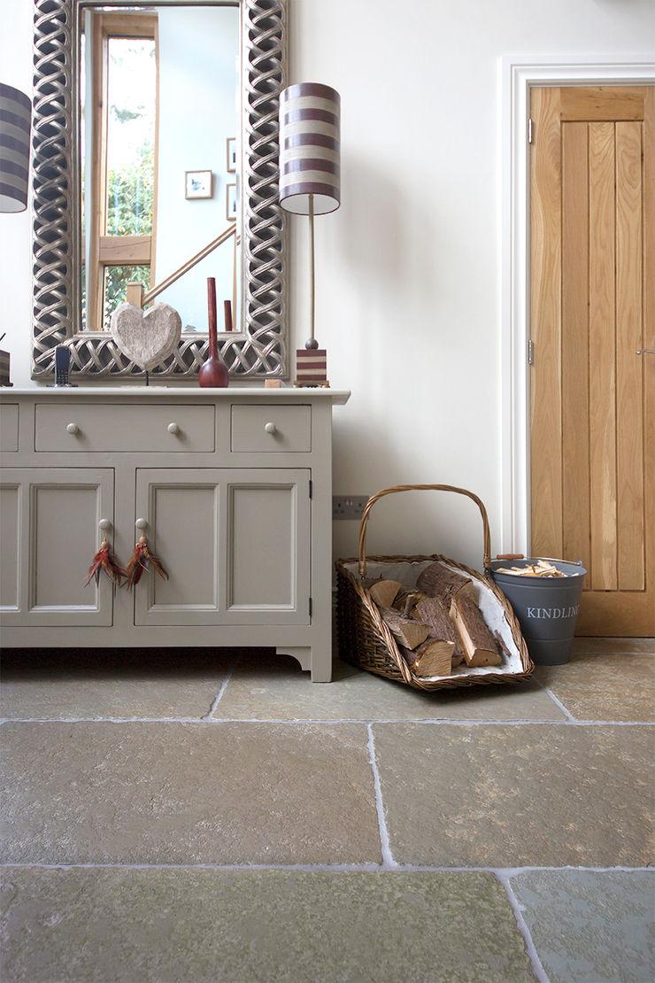 A Beautiful Entrance: Umbrian Limestone Quorn Stone Rustic style corridor, hallway & stairs Limestone