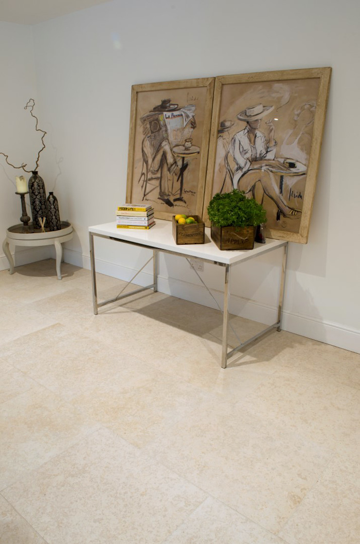 Contempoary Home: Florence Limestone Quorn Stone Modern Corridor, Hallway and Staircase Limestone
