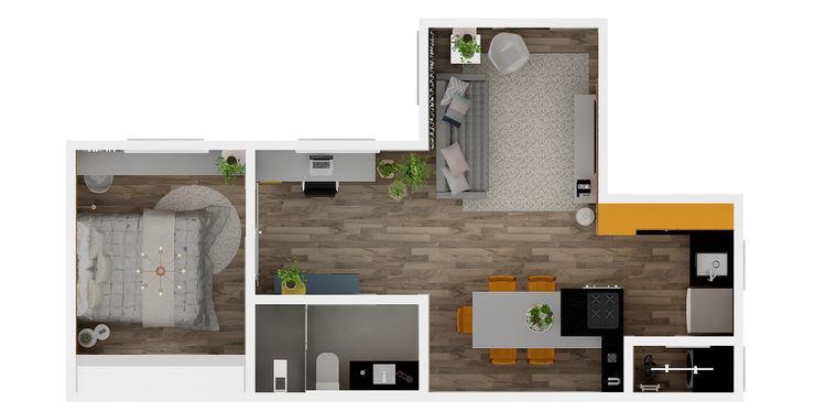 Planta Baixa Humanizada - Integração dos espaços Arquiteto Virtual - Projetos On lIne Salas de estar modernas Madeira Efeito de madeira