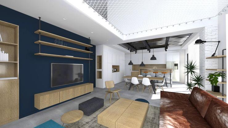 Vue sur séjour. Double hauteur avec mise en place d'un filet d'habitation. Lionel CERTIER - Architecture d'intérieur Salon original
