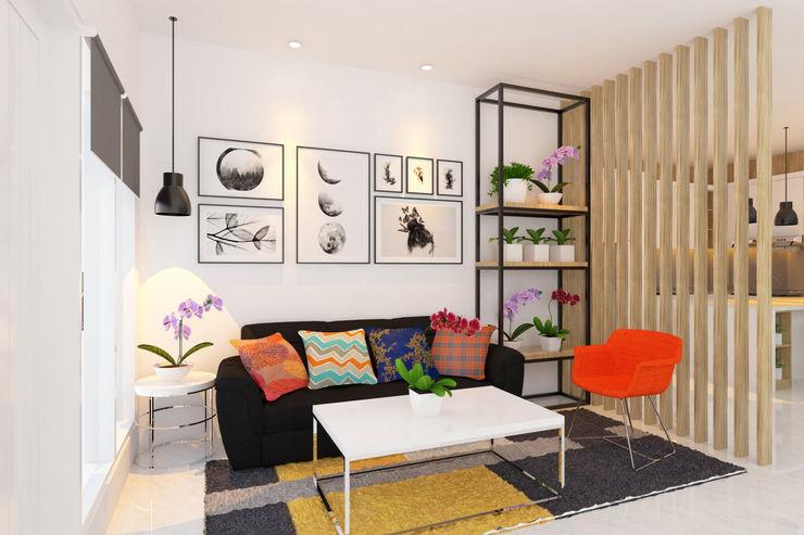 Ruang Tamu Tata Griya Nusantara Ruang Keluarga Modern Kayu Multicolored